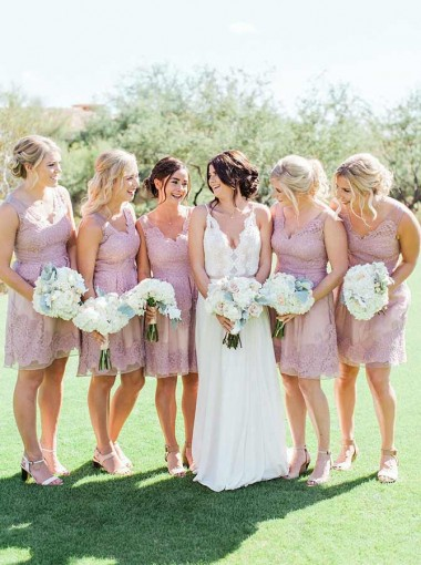 A-Line V-Neck Above Knee Lilac Tulle Bridesmaid Dress with Appliques