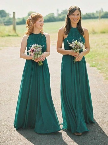 A-Line Round Neck Pleated Green Chiffon Bridesmaid Dress