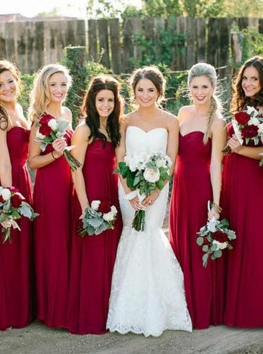 A-Line Sweetheart Floor Length Red Elastic Satin Bridesmaid Dress