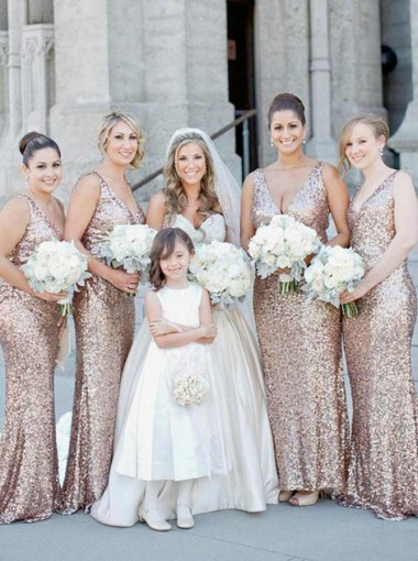 A-Line V-Neck Rose Gold Sweep Train Sequined Bridesmaid Dress