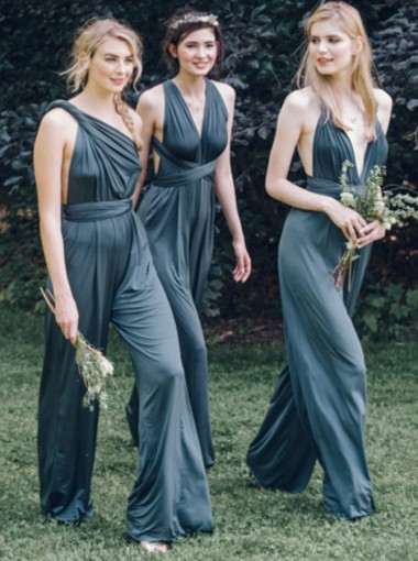 One Shoulder Convertible Style Backless Blue Chiffon Bridesmaid Jumpsuit