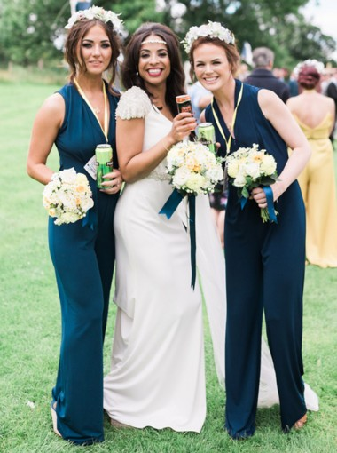 V-Neck Sleeveless Chiffon Dark Blue Bridesmaid Jumpsuit