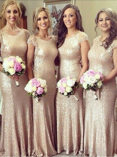 Mermaid Scoop Floor-Length Cap Sleeves Gold Sequined Bridesmaid Dress with Appliques