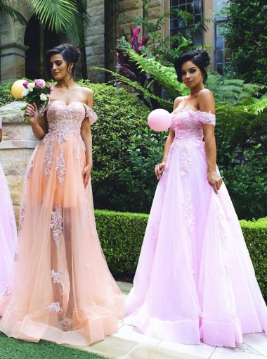 A-Lien Off-the Shoulder Sweep Train Pink Tulle Bridesmaid Dress with Appliques