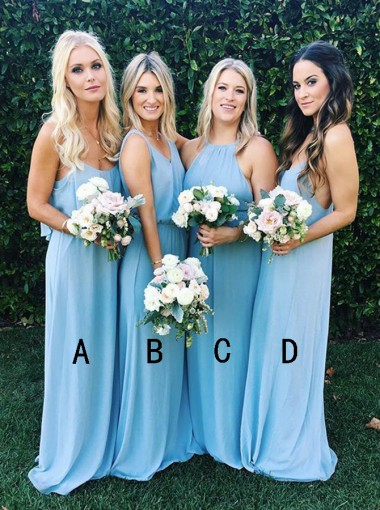 A-Line Halter Sweep Train Sleeveless Blue Chiffon Bridesmaid Dress
