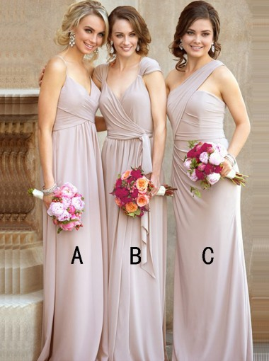 A-Line Spaghetti Straps Floor-Length Grey Chiffon Bridesmaid Dress