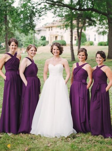 A-Line Halter Floor-Lenth Sleeveless Grape Chiffon Bridesmaid Dress with Pockets