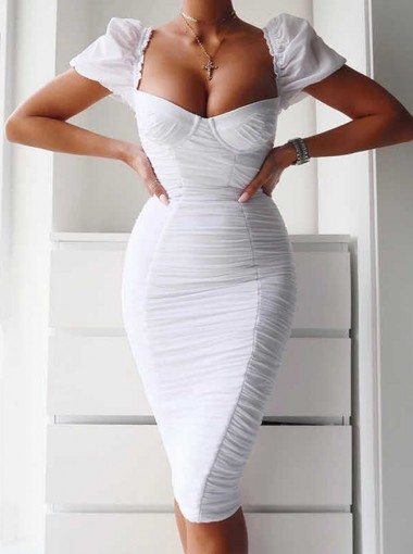 Women's Sexy Bodycone Dress With Short Sleeve
