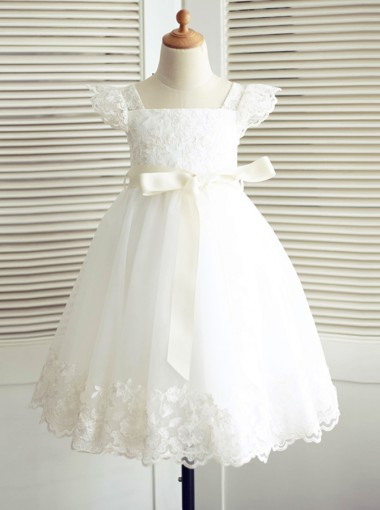 A-Line Square Neck White Flower Girl Dress Lace Sash