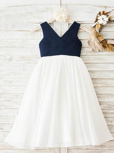 A-Line V-Neck White Chiffon Flower Girl Dress with Pleats