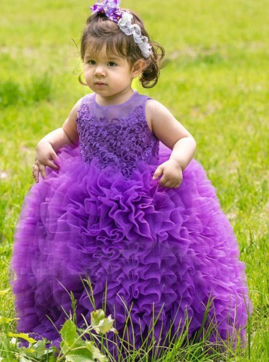 Dramatic Jewel Sleeveless Floor-Length Ball Gown Organza Purple Flower Girl Dress with Appliques