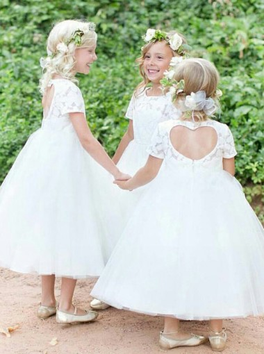 Ball Gown Jewel Short Sleeves Open Back Tulle Flower Girl Dress with Lace