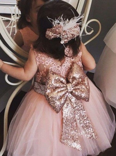 Ball Gown Round Neck Pink Flower Girl Dress with Lace Sequins