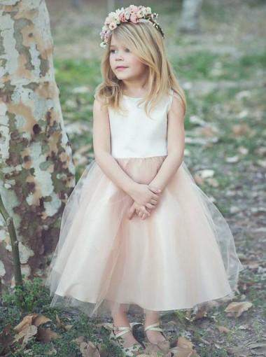 A-Line Bateau Tea-Length Blush Tulle Flower Girl Dress