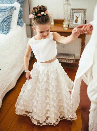 Two Piece Round Neck White Lace Flower Girl Dress