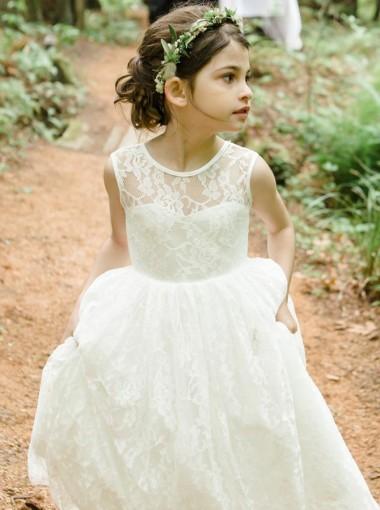 A-Line Jewel Backless Tea-Length White Lace Flower Girl Dress