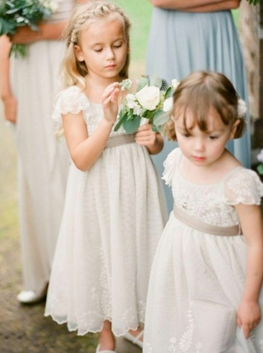 A-Line Square Cap Sleeves Ivory Lace Flower Girl Dress with Sash