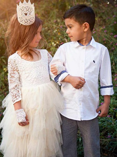 A-Line Round Neck Tired White Tulle Flower Girl Dress with Lace