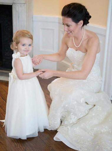 A-Line Bateau Floor Length White Tulle Flower Girl Dress with Sash