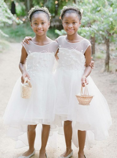 A-Line Round Neck High Low White Tulle Flower Girl Dress with Appliques