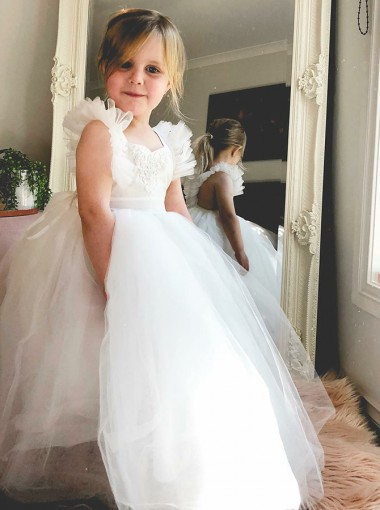 Ball Gown Square Neck White Tulle Flower Girl Dress with Ruffles Appliques