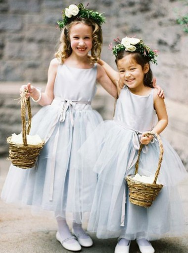 A-Line Round Neck Light Grey Tulle Flower Girl Dress with Sash