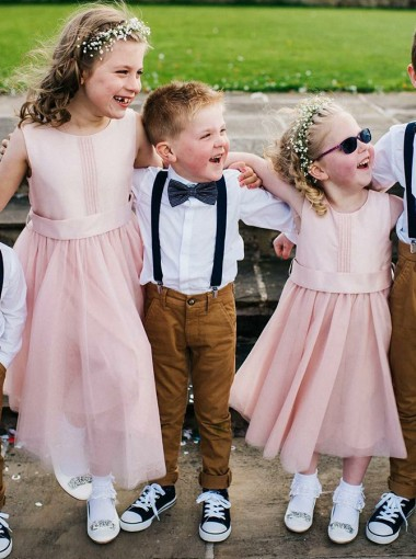 A-Line Round Neck Mid Calf Pink Tulle Flower Girl Dress with Sash
