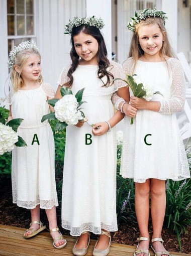 A-Line Round Neck Cap Sleeves White Lace Flower Girl Dress