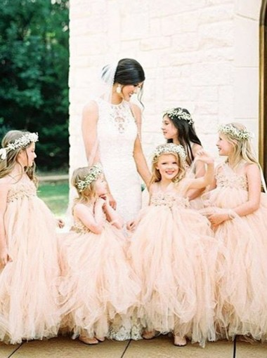 Ball Gown Halter Pink Tulle Flower Girl Dress with Appliques