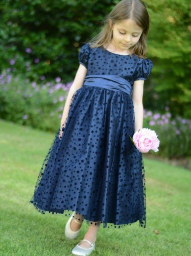 A-Line Round Neck Navy Blue Satin Flower Girl Dress with Lace