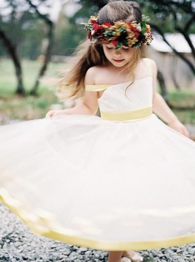A-Line Straps Tea Length Yellow Satin Flower Girl Dress