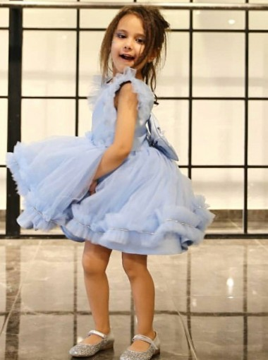 A-Line Round Neck Light Blue Flower Girl Dress with Ruffles Bowknot