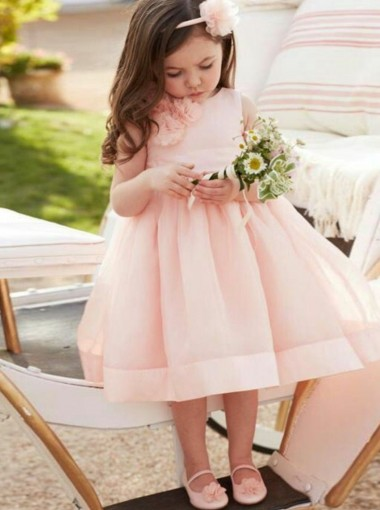 A-Line Knee Length Pink Tulle Flower Girl Dress with Flowers