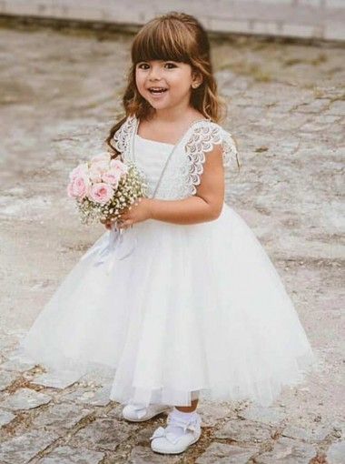 Ball Gown Square Neck White Tulle Flower Girl Dress with Lace