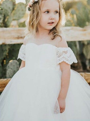 Ball Gown Cold Shoulder Illusion Neck White Flower Girl Dress with Lace