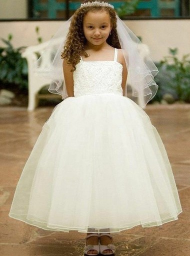 Ball Gown Straps Ankle Length White Flower Girl Dress with Lace