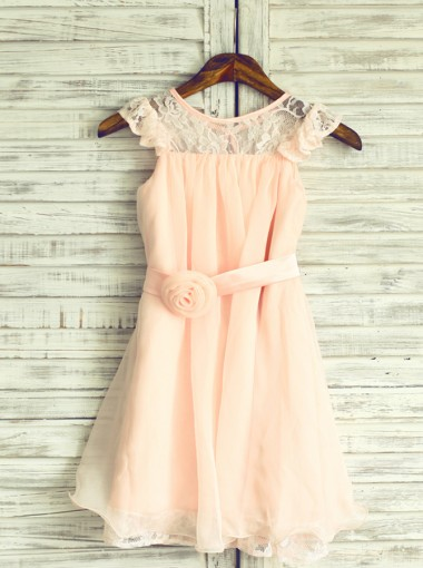 A-Line Jewel Pink Chiffon Flower Girl Dress with Flower