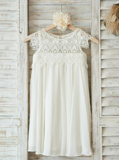 A-Line Jewel Cap Sleeves White Flower Girl Dress with Lace