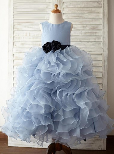 Ball Gown Jewel Blue Tired Flower Girl Dress with Flower