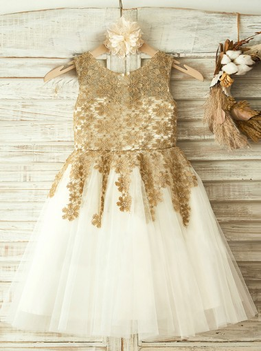 A-Line Round Neck White Flower Girl Dress with Champagne Lace