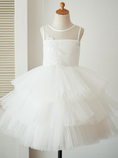 Ball Gown White Tired Flower Girl Dress with Appliques