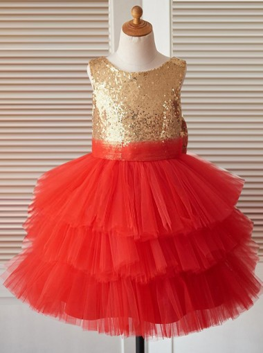 Ball Gown Jewel Red Tired Flower Girl Dress with Sequins Bow