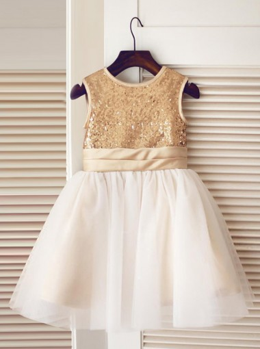 A-Line Jewel White Flower Girl Dress with Champagne Sequins Bow