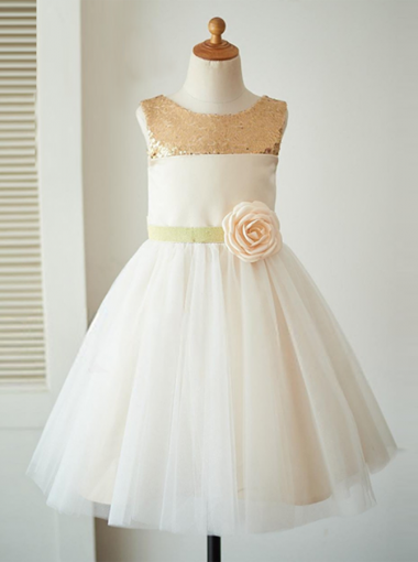 A-Line Jewel Ivory Flower Girl Dress with Flower Sequins