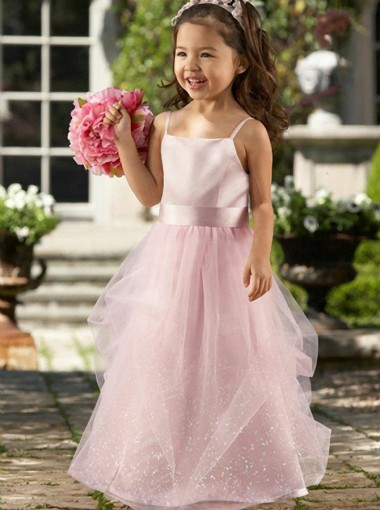 A-Line Spaghetti Straps Floor Length Pink Lace Flower Girl Dress