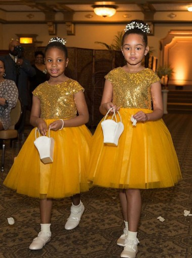 A-Line Round Neck Knee Length Yellow Flower Girl Dress with Sequins