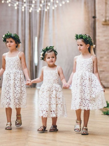 A-Line Spaghetti Straps Light Pink Lace Flower Girl Dress