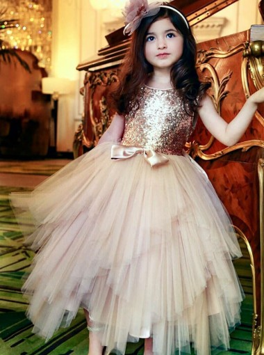 A-Line Round Neck Gold Tulle Flower Girl Dresses with Sequins Bowknot