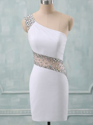 Sheath/Column One-Shoulder Short Spandex Beaded White Backless Party Homecoming Dress
