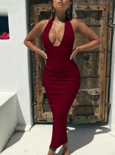 Deep V neck Tight Burgundy Women's Dress